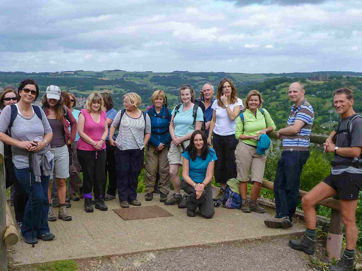 A group of One Step Walkers in Tansley near Matlock in Derbyshire