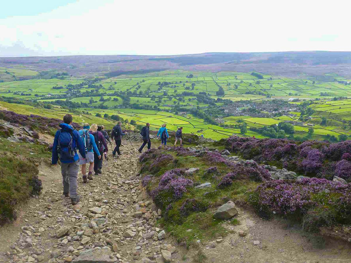 One Step Walkers on the Edale Skyline Walk in the Peak District in Derbyshire