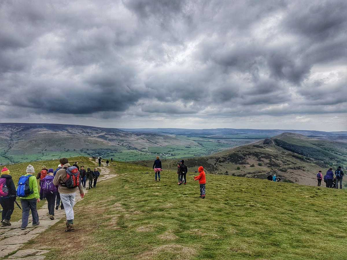 One Step Walkers visiting Mam Tor near Edale in the Derbyshire Peak District