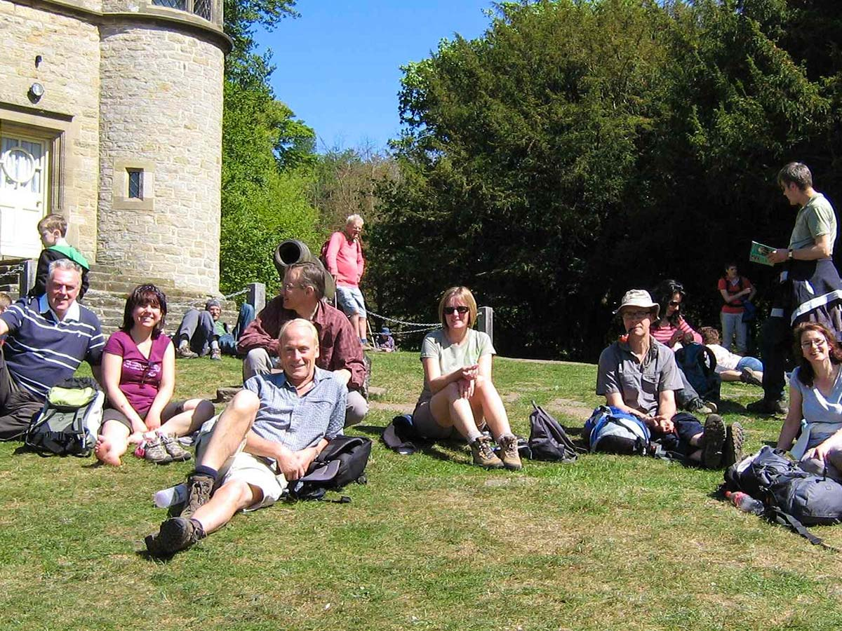 A small group of sunday walkers taking a break in sunny Nottinghamshire
