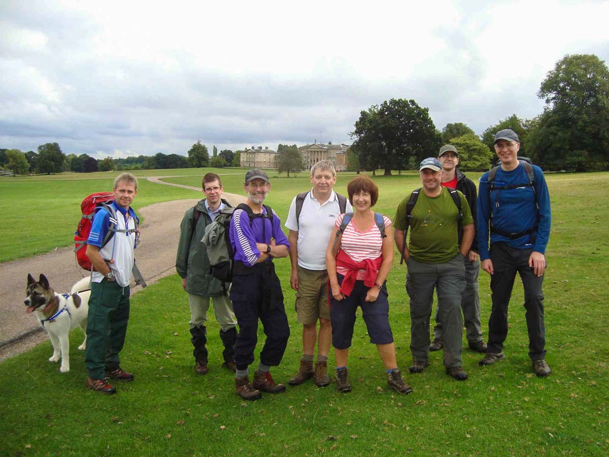 A small group of walkers visiting National Trust Kedleston Hall in Derbyshire