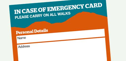 Ramblers In Case of emergency card